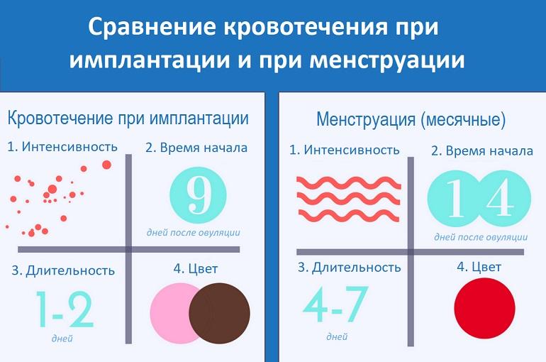 Сравнение кровотечения при имплантации и при менструации