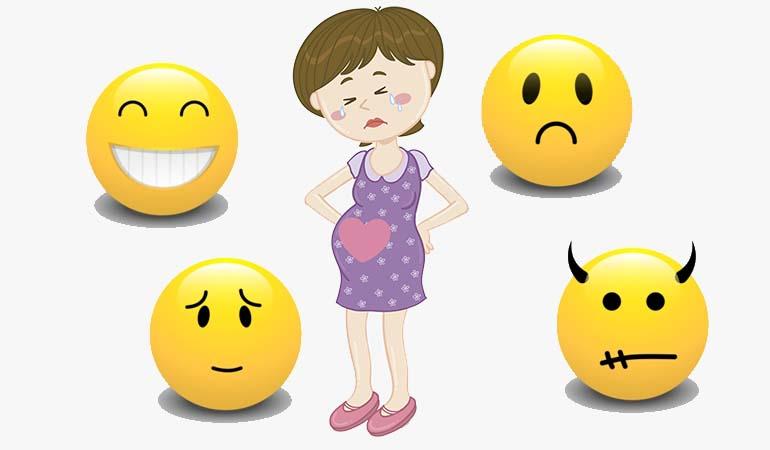 Различные эмоции беременной женщины