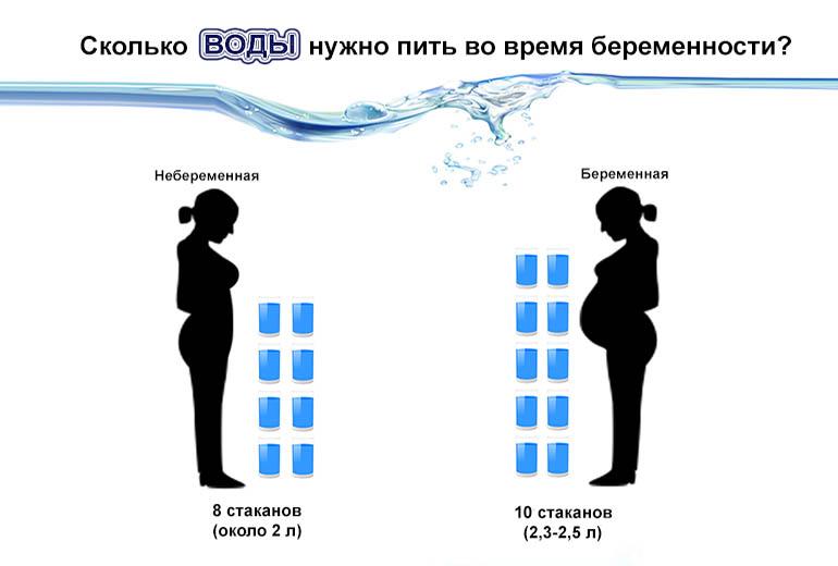 Сравнение количества необходимой воды для беременной и небеременной женщины