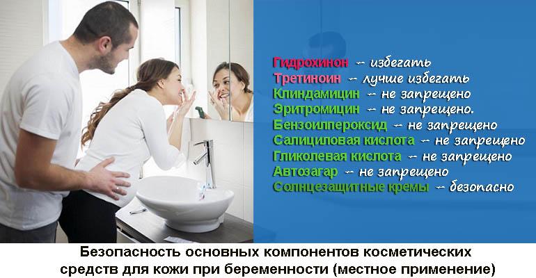 Безопасность компонентов косметических средств для кожи при беременности